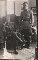 В.И.Плигунов(сидит) с ординарцем П.И.Костиным. Германия, г.Штольп. 27.09.1945 г. (2)